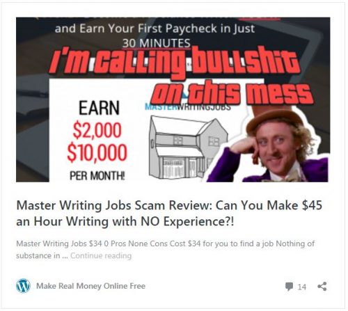 """Screenshot of Master Writing Jobs google result for Job Scam Review search reading overlay text """"I'm calling bullshit on this mess"""" with image of smiling willie wonka headshot"""