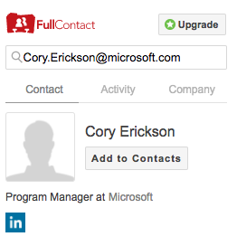 Screenshot of FullContact email search 1 result match for LinkedIn