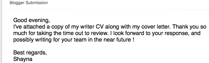 Screenshot of blogger submission of cover letter and writer cv from writer Shayna