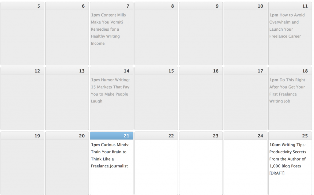 Writing tips on blog posts: editorial schedule